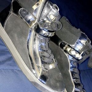 MK black and gold hightop sneakers